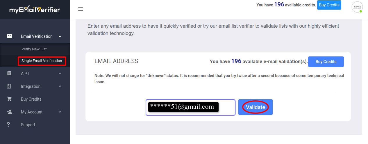 MyEmailVerifier single validate